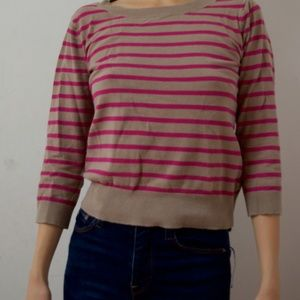 Old Navy Sweaters - Used Pink and Brown Crew-neck Sweater